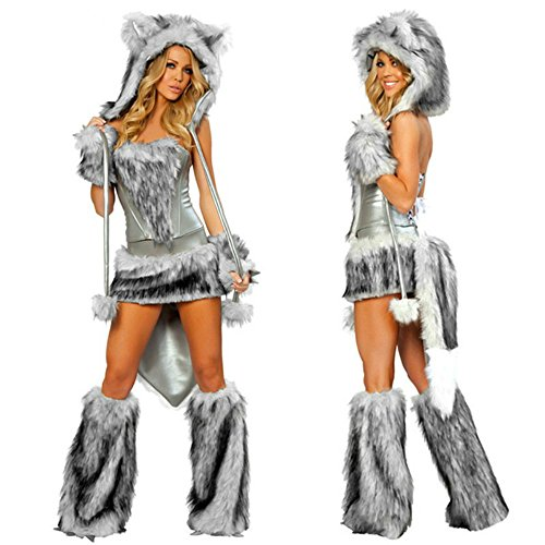 Adult Furry Costumes (Ailisen 2017 New Sexy Wolf Girl Costume Halloween Furry Costumes For Women Animal Costume Cosplay)