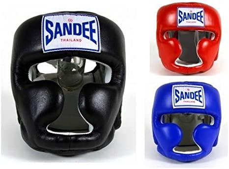 Sandee Closed Face Blue Synthetic Leather Head Guard Muay-Thai Boxing Kids
