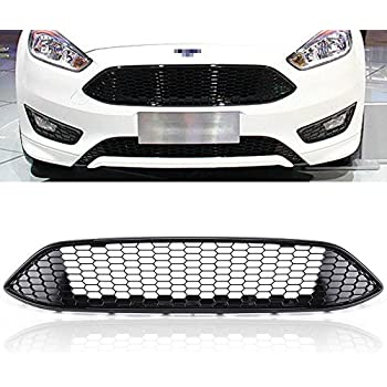 MotorFansClun Front Grille Bumper for Ford Focus 2015 2016 Chrome Grill ABS Gloss Black Honeycomb Style