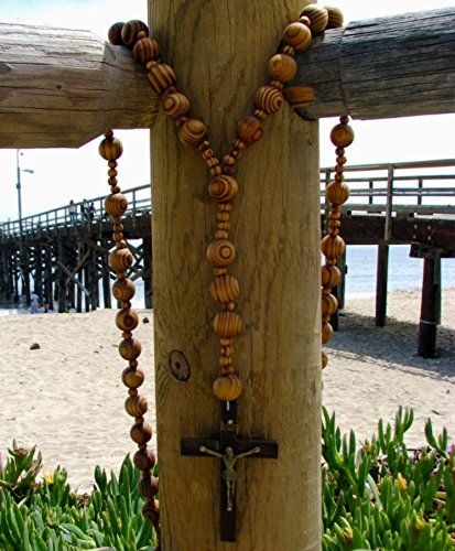 Super and holy big mix Beads sanctified Rosario Natural wood Chain Jesus cross XL large 42