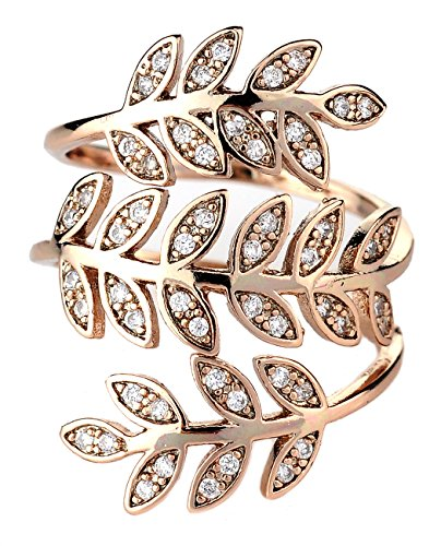 Women's Olive Branch Leaf Vine Wrap Fashion Ring, 7, Rose Gold-Tone (Leaf Ring)