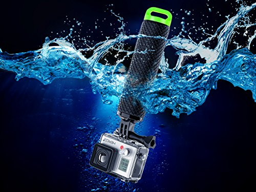MiPremium Waterproof Floating Hand Grip Compatible with GoPro Cameras Hero 8 7 6 5 4 3 2 1 Session Black Silver Handler Plus Free Handle Mount Accessories for Water Sport and Action Cameras (Green)