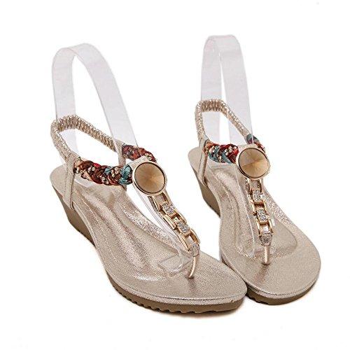 Pendiente con sandalias planas de verano femenina con las damas sandalias Oro