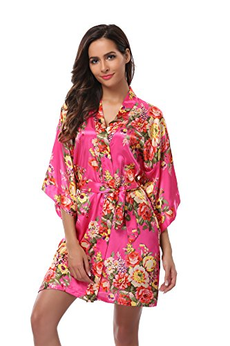 - Women's Bridesmaid Robe Short Floral Wedding Kimono Robe Satin Floral Kimono Bathrobe for Bridal Wedding Party Rose S