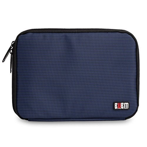 BUBM Universal Cable Organizer Electronics Accessories Case USB Drive Shuttle with Passport Cover (Medium, Dark Blue) by BUBM