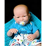 """Handsome Cute Baby Doll So Realistic with Blue Eyes Reborn Boy Anatomically Correct Washable Berenguer 17"""" inches Real Soft Vinyl Lifelike Pacifier with Beautiful Accessories"""
