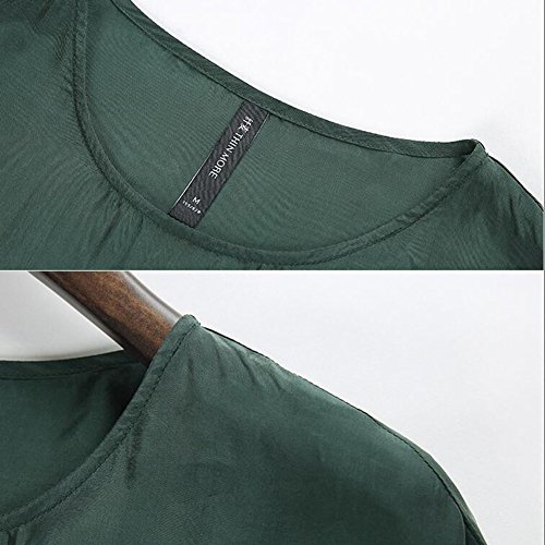 dimensioni Lunga Stagione Signora Benda Colore Puro WYYY Verde Manica Collare Gonna XL 4XL In Di Estiva O Chiffon Lunga Grandi XXXXL Dimensioni Abito Vestiti YwBqA