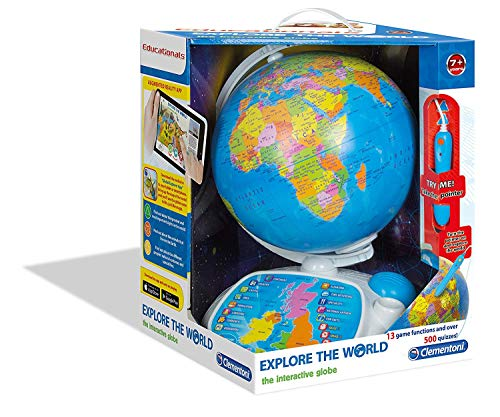 Clementoni Fun Educational Spinning Interactive Globe Playset, Ages 7 and Up
