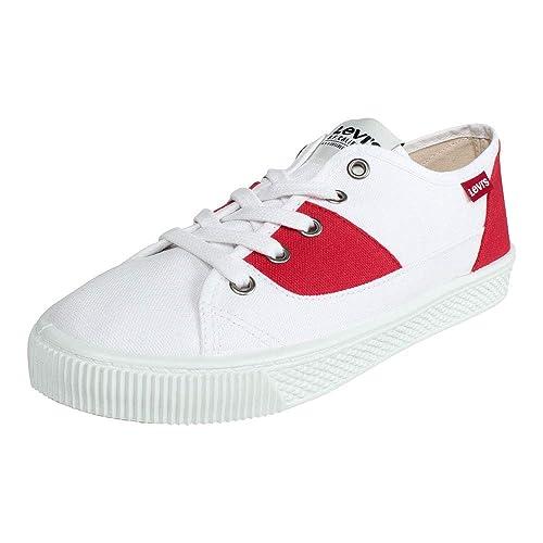 Levis Mujer Sneaker Malibu S W Brilliant White -Rojo: Amazon.es: Zapatos y complementos