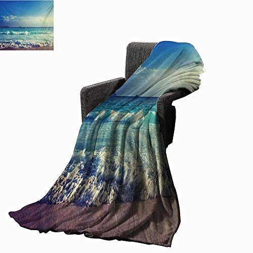 htweight Blanket Tropical Island Paradise Beach at Sunset Time with Waves and The Misty Sea Image,Super Soft and Comfortable,Suitable for Sofas,Chairs,beds ()