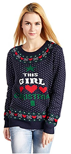 V28 Women's Christmas Reindeer Snowflakes Sweater Pullover (Tag L (US size 10), Blue-LvXmas)]()