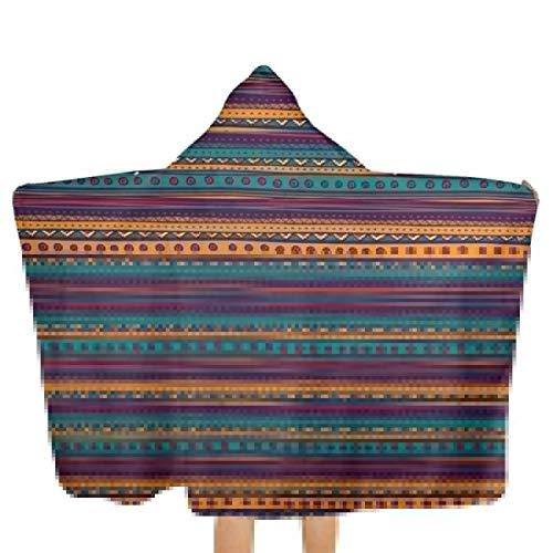 Daimaoshatan Striped Retro Aztec Pattern Kids Hooded Beach,Pool & Bath Towel Soft Microfiber Multi-Purpose Poncho Swim Cover Changing Robe Fun Multi-use for Bath Shower Pool Swim 32x51 Inch