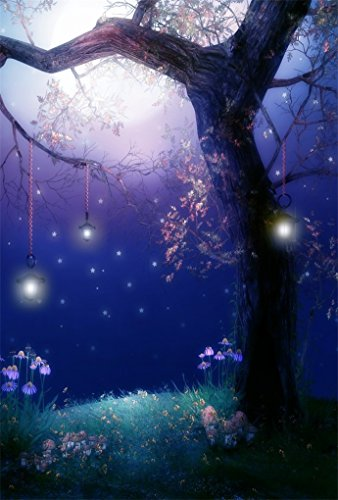 AOFOTO 3x5ft Fairytale Garden Background Dreamlike Forest Photography Backdrop Hazy Moonlight Spring Meadow Flowers Tree Elven Lamp Baby Girl Kid Child Artistic Portrait Photo Studio Props Wallpaper - Moonlight Fairy Lamp