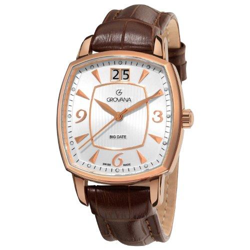 Grovana Men's 1719.1562 Brown Leather Strap Quartz Watch