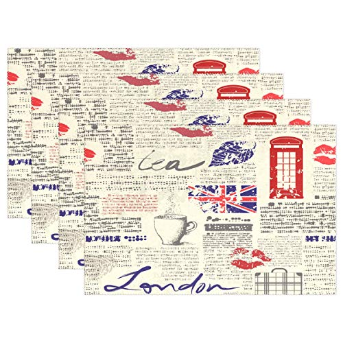 YATELI Placemats Newspaper UK London Coffee Red Lip 12x18 inch Heat Resistant 1 Piece Non Slip for Dinning Kitchen (Rattan Uk Placemats)
