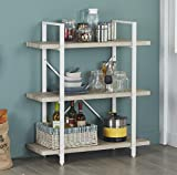 Homissue 3-Shelf Modern Industrial Bookshelf, Light Oak Shelves and White Metal Frame, Open Storage Display Bookcases Furniture, 39.9'' Height