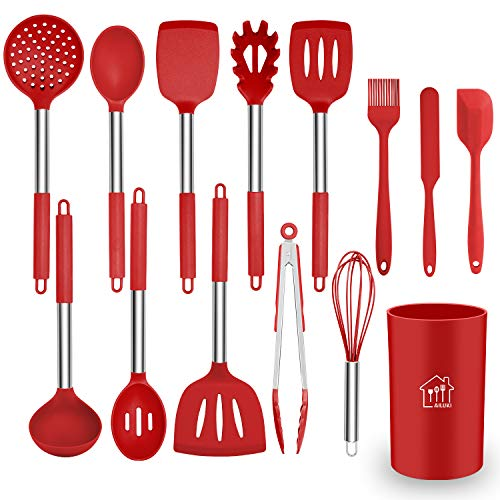 Silicone Cooking Utensil Set, AILUKI Kitchen Utensils 14 Pcs Cooking Utensils Set,Non-stick Heat Resistant Silicone,Cookware with Stainless Steel Handle - Red (Best Utensils To Use With Stainless Steel Cookware)