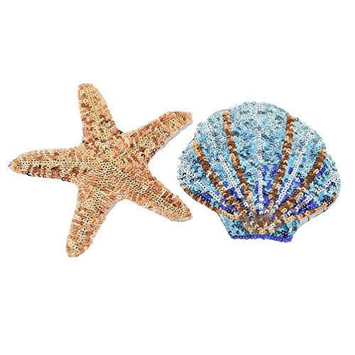- BetterUS Starfish Shell Applique with Sequins Patches Decoration DIY Sewing Embroideries