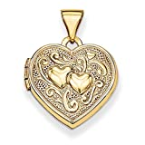 ICE CARATS 14k Yellow Gold Heart Photo Pendant Charm Locket Chain Necklace That Holds Pictures Fine Jewelry Ideal Mothers Day Gifts For Mom Women Gift Set From Heart