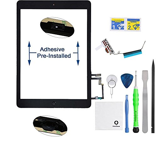 PC Hardware : FixCracked for iPad Air (5th Generation) Touch Screen Glass Digitizer Replacement, Home Button Assembly, Pre-Installed Adhesive Tape, WiFi Antenna with Tools,Black