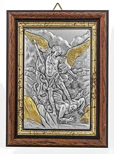 Venerare Devotional Wall Plaque with Wood Frame and Gold Highlights (Saint Michael The Archangel) ()