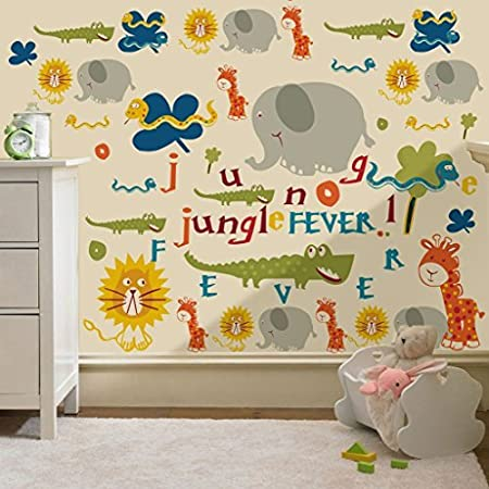 Jungle Fever Animals Print Removable And Repositionable Wall