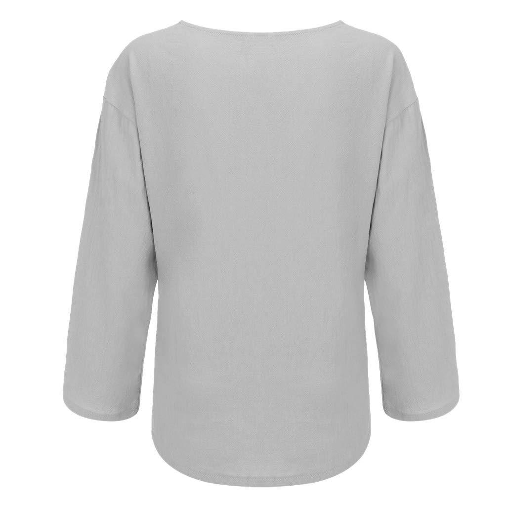 CixNy Women Casual T Shirt Womens T Shirt Round Collar Plain Colour Loose Size Cotton and Linen Shirts Tunic Blouse Tanks Vest Tops