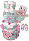 Owl 4-Tier Diaper Cake for a Girl - Baby Shower Centerpiece Gift Set