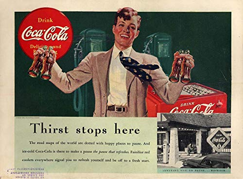 Thirst stops here Coca-Cola ad 1939 youth with 4 bottles
