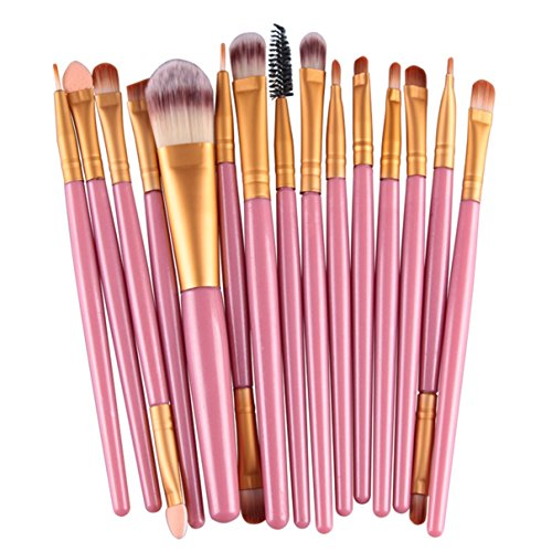 15 Pcs Makeup Brush Set Eye Shadow Eyebrow Eyeliner Eyelash Cosmetic Make Up Tool Professional Natural Beauty Palettes Eyeshadow Cute Popular Eyes Face Colorful Rainbow Hair Highlights Kit, Type-07 by GrandSao
