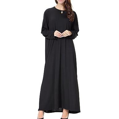 b52b2c968c Meijunter Islamic Muslim Ladies Thobe Malaysia Pure Color Long Sleeve  Kaftan Dubai Church Prayer Dress Turkish Apparel Arabia Abaya Robe Cocktail  Gown ...