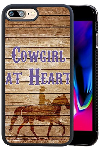 iPhone 8 Plus 5.5 inch Case, Cowgirl at Heart Riding Horse Design Hard PC Soft Silicone Protective Durable Shockproof Case for iPhone 7 Plus/iPhone 8 Plus 5.5