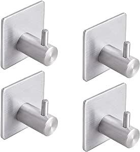YOMYM Adhesive Hooks Bathroom Towel Shower Hooks Anti-Skid Heavy Duty Wall Hooks Hanger Stick On Hooks for Hanging Towels, Robes, Coats, Keys, Calendars-Bathroom Home Kitchen-4 Packs
