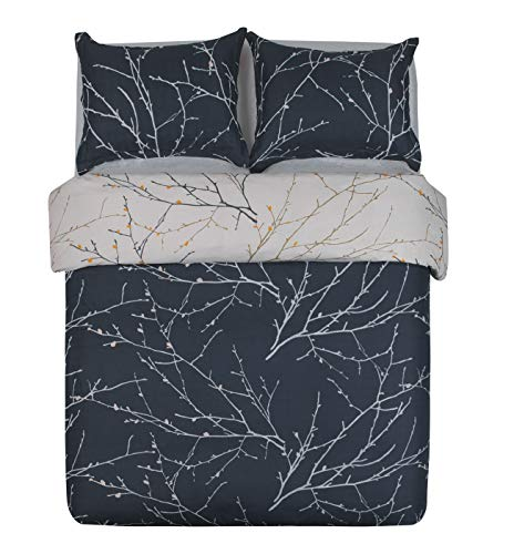 Word of Dream Duvet Cover with Zipper Closure - Branch Pattern Printed, Ultra Soft Brushed Microfiber, King - 3 Piece (1 Duvet Cover + 2 Pillow Shams)