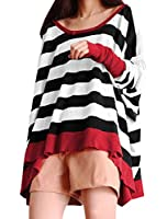 Allegra K Women Boat Neck Batwing Tops Stripe Oversize Plus Size T Shirts