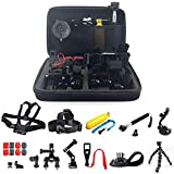 WANGOFUN Accessory Kit for GoPro, Action Camera Accessories with Selfie Stick Tripod Straps Car Suction Accessories for GoPro Hero 7/6/5/4/3/2/1/SJ4000