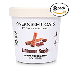 Overnight Oats by Dave's Naturals Cinnamon Raisin - A Hearty Breakfast of Warming Cinnamon, Chewy Raisins, Chia Seeds, and Whole Grain Oats (Pack of 8)