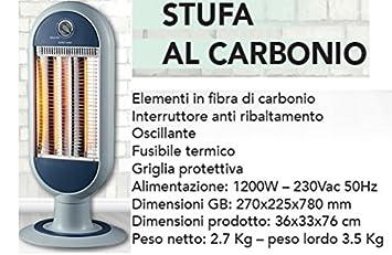 Estufa - calentador eléctrico oscilante giratorio a carbono de infrarrojos 1.200 W: Amazon.es: Bricolaje y herramientas