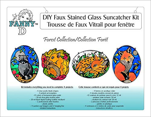 Forest Collection - FannyD - DIY Faux Stained Glass 4 Project Kit - Create Stunning Sun Catchers - Complete -