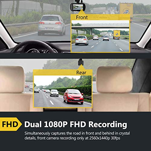 Z-Edge Z3D Dual Lens Dash Cam, 2.7'' Screen Ultra HD 1440P Front & 1080P Rear 150 Degree Wide Angle Front and Rear Dash Cam, Dashboard Camera with GPS, WDR, Low Light Vision, Parking Mode, G-Sensor by Z Z-Edge (Image #2)
