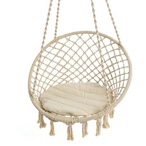 Hängesessel zum Aufhängen - mit rundem Sitzkissen - inkl. Spreizstab - Weiß Beige - Belastbarkeit max. 100 kg