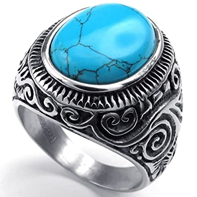 KONOV Jewelry Mens Stainless Steel Ring, Classic Vintage, Blue Silver