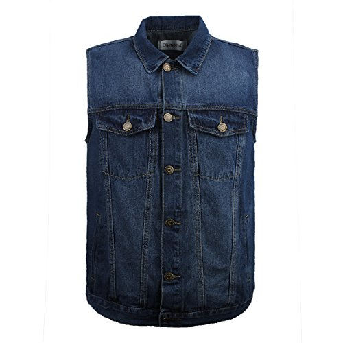 LUSI MADAM Men's Denim Vest Multi-Pockets Leisure Outdoor Fishing Vest Sleeveless Jacket,Blue (Blue with Collar, US L/Asia 3XL)