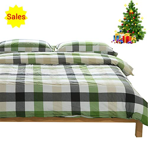 OTOB Checkered Grid Simple Style Queen Bedding Set for Kids