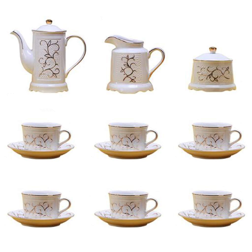 CSQ Coffee Cup European Style Tea Set, Ceramic Coffee Pot Simple Living Room Tea Set Black Tea Teapot Afternoon Tea (Color : White)