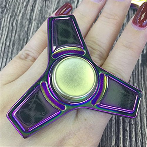 STRESS SPINNER Metal Rainbow Tri Fidget Finger Gyro Stress Reducer with Ultra Fast Bearings Perfect for ADD, ADHD, Anxiety, Boredom, and Autism Adults Children(Multicolor 2)
