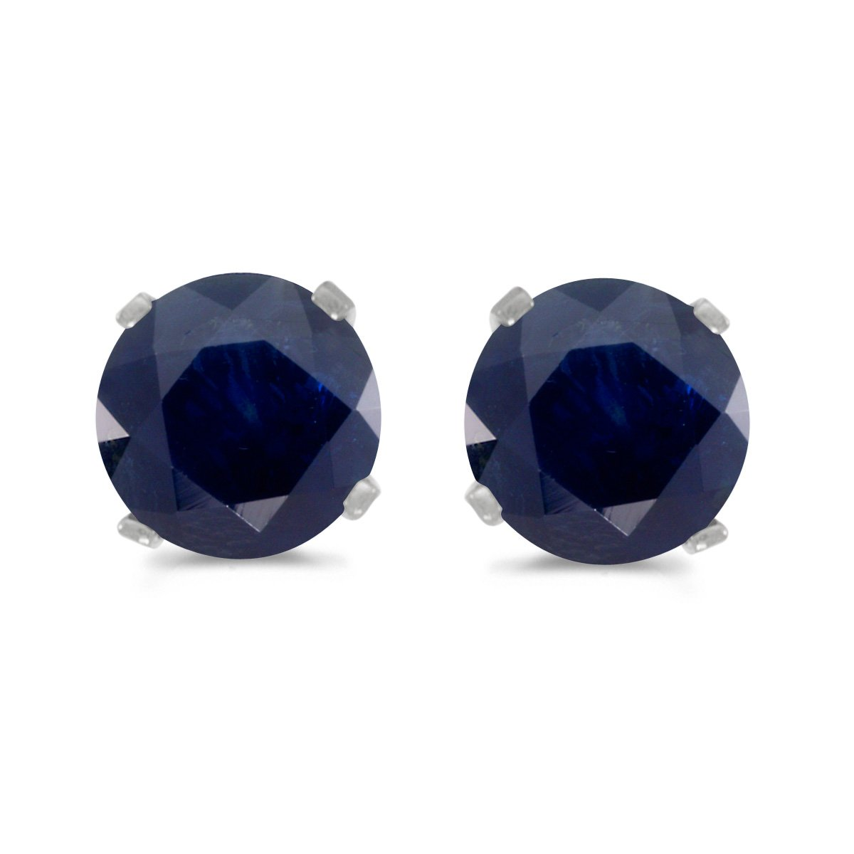 1 Carat Total Weight Natural Round Sapphire Stud Earrings Set in 14k White Gold