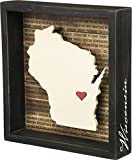 Primitives by Kathy Wanderlust Box Sign, 8 x 8.5, Wisconsin