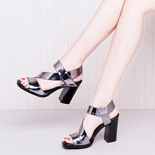 SHOESHAOGE Zapatos De Mujer Sandalias De Tacón Alto De Rocío Femenino Y El Viaje A Roma Zapatos Parte Gruesa Cabeza con Sandalias EU35/UK24