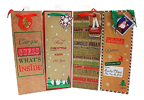 - Christmas Holiday Wine Bottle Gift Bags NEW KRAFT Design - 12 Count